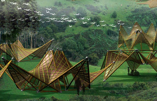 Bamboo Origami Huts